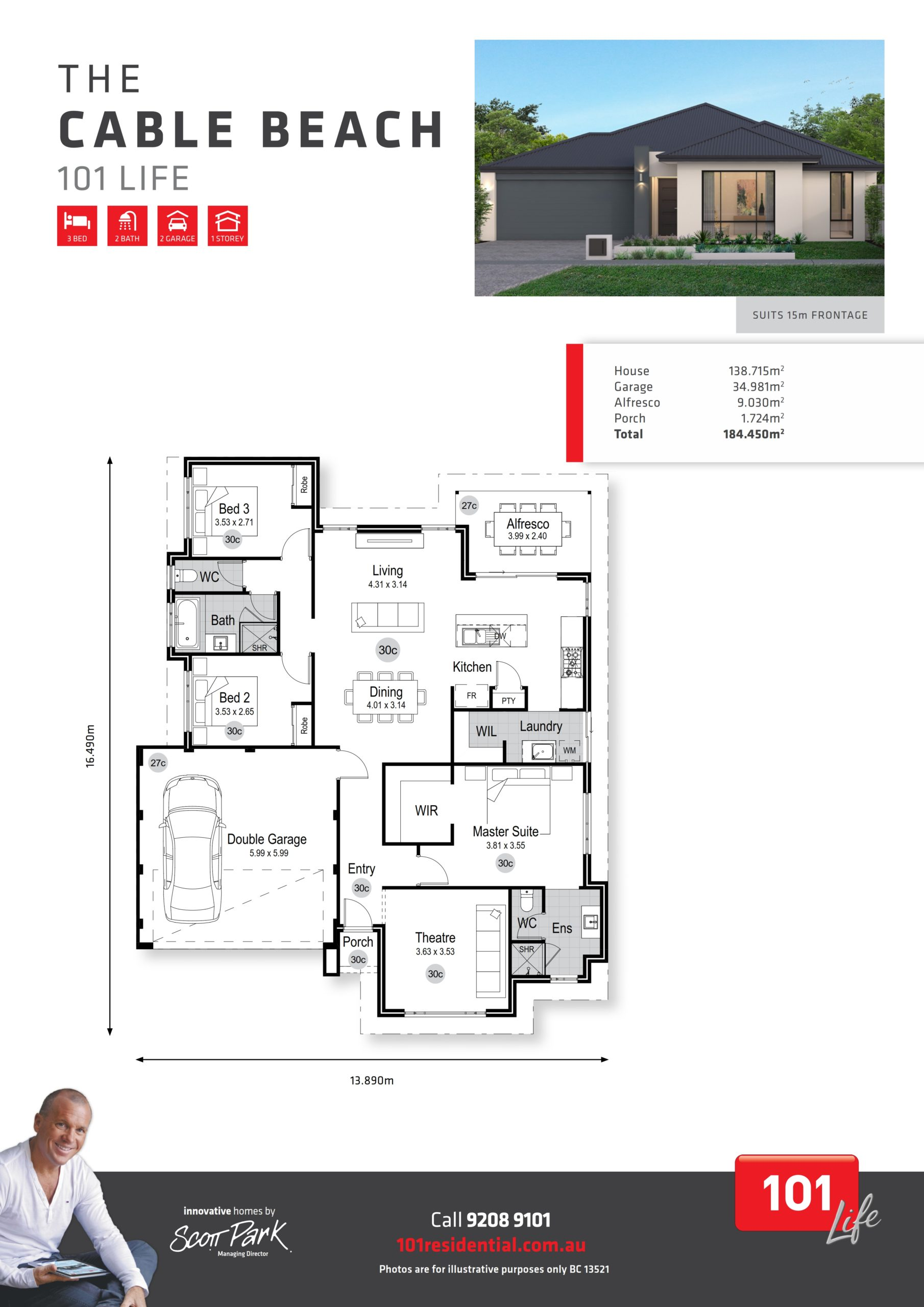 101 Life A3 Floor Plan - Cable Beach WEB_001