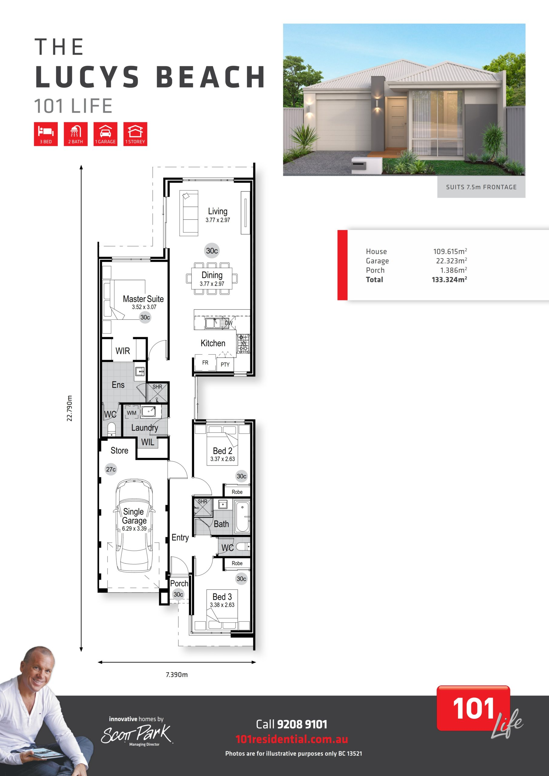 101 Life A3 Floor Plan - Lucys Beach WEB_001